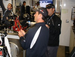 Mike Weir inside the TaylorMade Tour Van