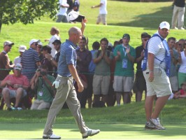 Nathan Green walks off of 17 after outlasting Retief Goosen in the second play-off hole.