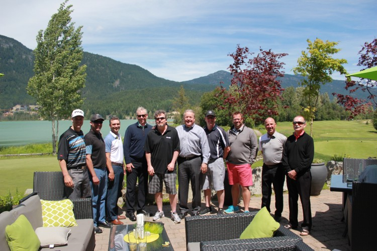 Brad Thomas and a few of his friends from the golf tournament in his honour. (From left) Adrian Deakin, Ryan Bathgate, Nick Anthanasopoulos, Dave Wilson, Brad Thomas, Doug Hawken, Colin Gilliard, Martin Neil, Terry Graham and Ted Webster