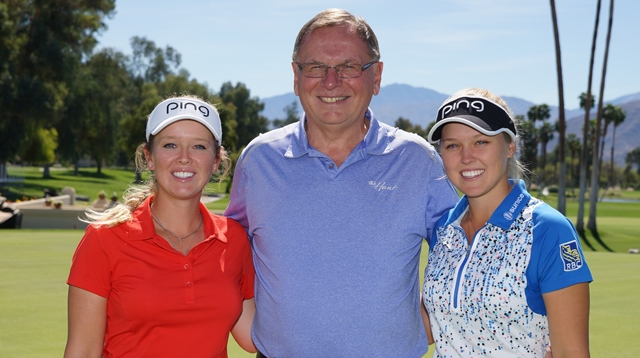 Ottawa Hunt and Golf Club president Allan Bulloch is flanked by Brittany (left) and Brooke Henderson