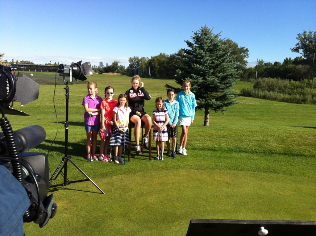 Brooke was surrounded by some of her young fans as she was welcome to the Canadian Olympic golf team from Glen Abbey in Oakville, Ont.