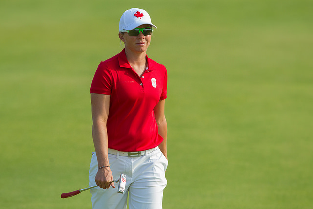 Hamilton's Alena Sharp shot a 69 on Thursday and is one under at the midway point in Rio
