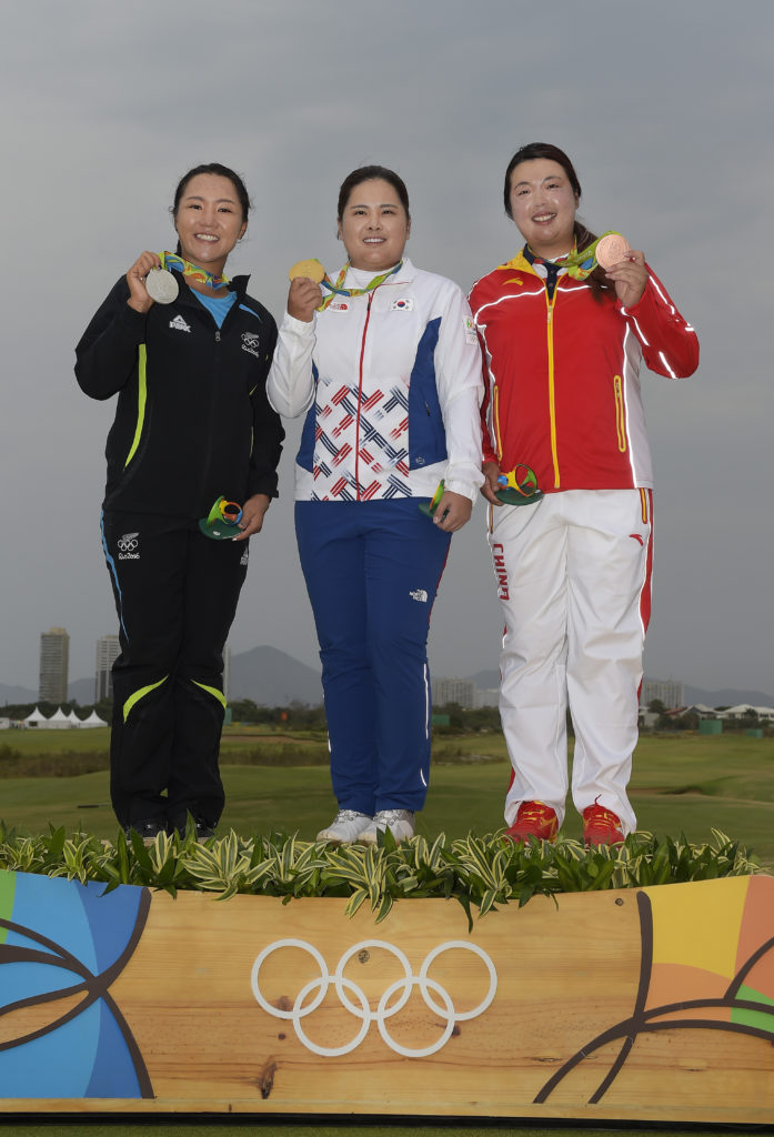 From left: Lydia Ko, New Zealand (silver), Inbee Park, South Korea (gold) and Shanshan Feng, China (bronze) after the final round of the Rio 2016 Olympics Games at the Olympics (Photo by Stan Batz, PGA Tour/IGF)