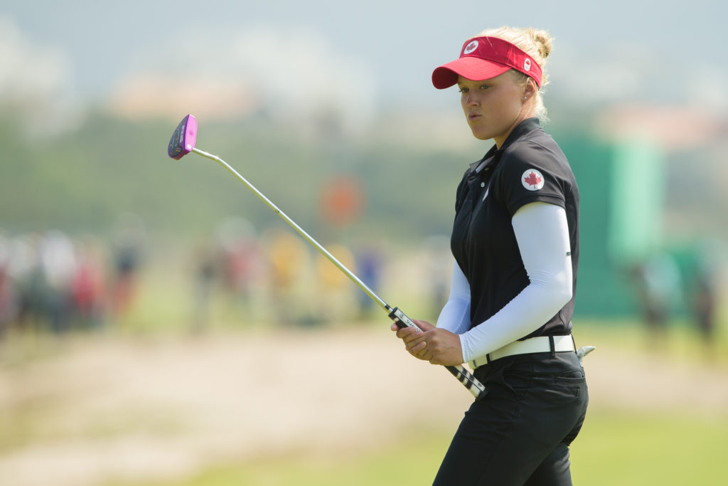 RIO DE JANEIRO, BRAZIL - 19/08/2016: Brooke Henderson of Canada reacts to missing a putt on the 4th green during the third round at the Rio 2016 Olympics (Photo by Tristan Jones/IGF)