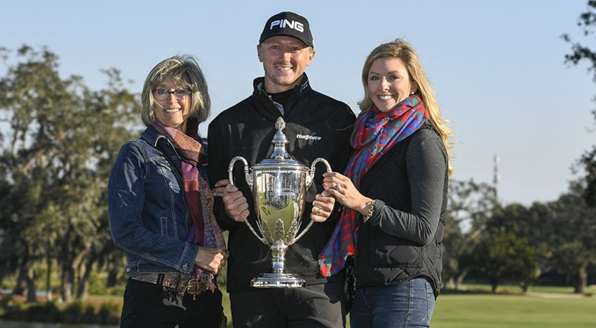 His mom and wife were there to celebrate with Mackenzie Hughes after his first PGA Tour win (Ryan Young/PGA Tour photo)