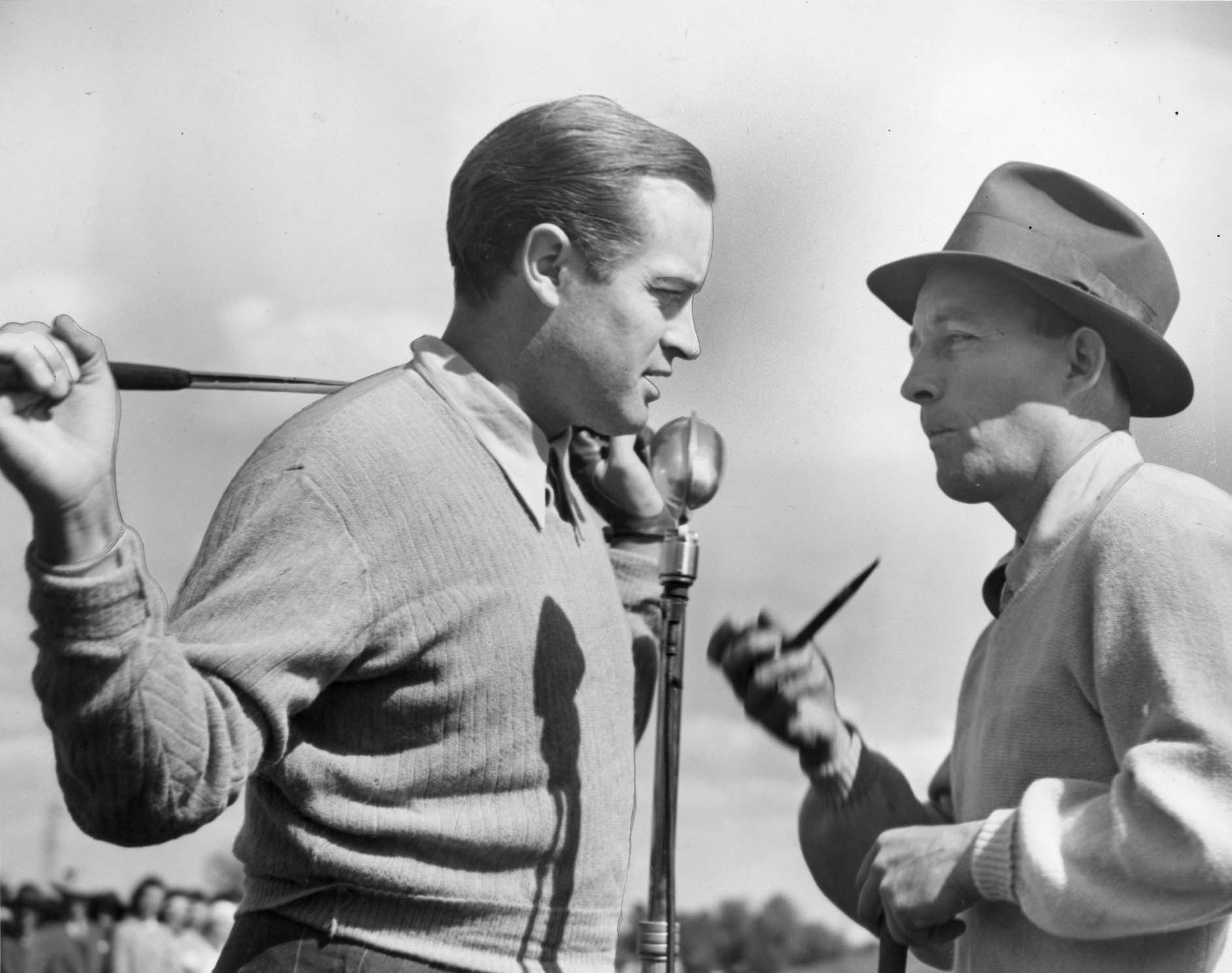 Bob Hope (left) and Bing Crosby used golf in their contributions to the war effort
